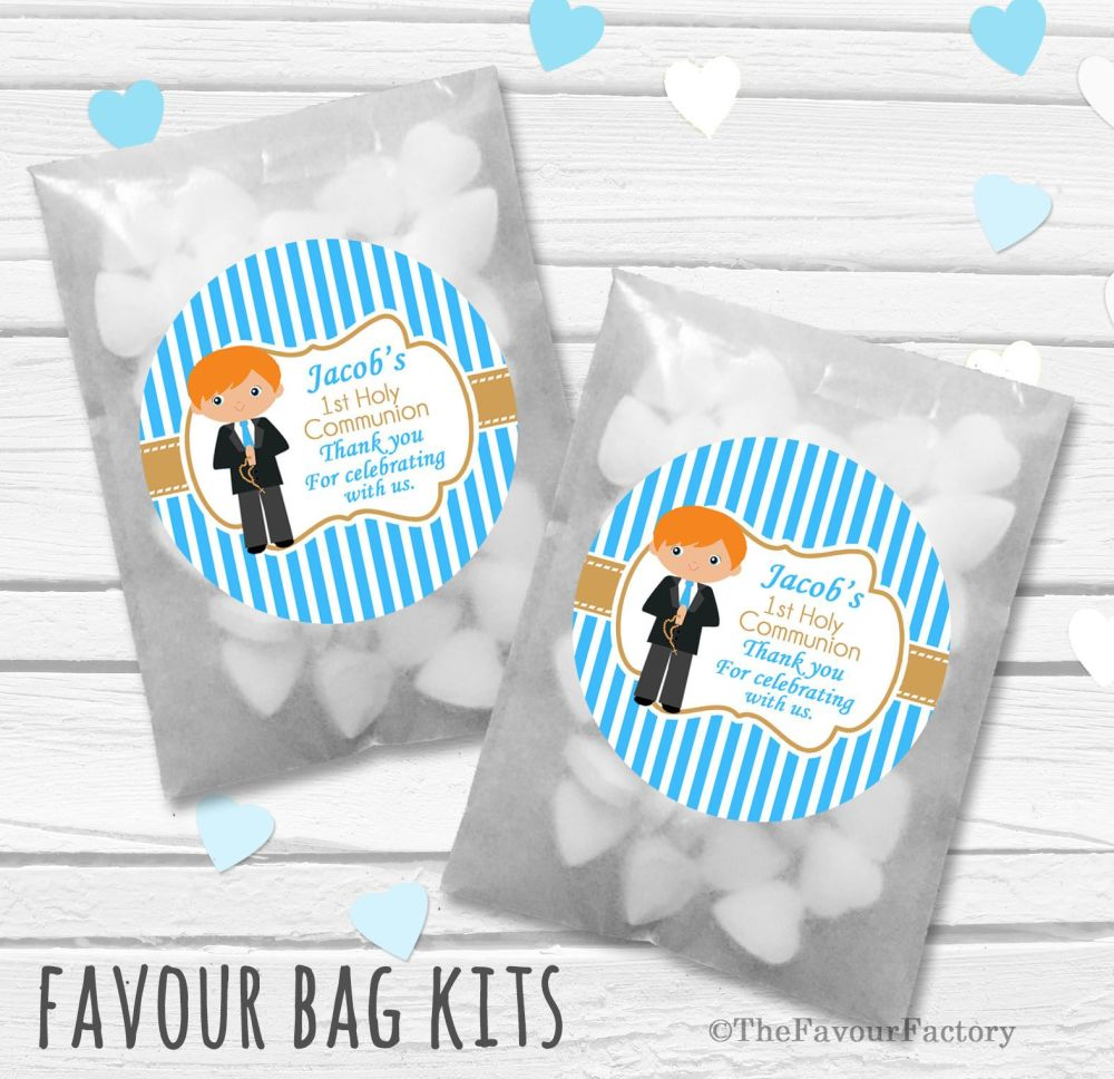 Personalised Holy Communion Party Favours Glassine Bags Kits x12