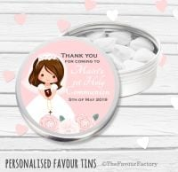 Floral Brown Hair Girl Personalised Holy Communion Party Favour Tins x1