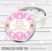 Beads & Candles Pink Personalised Holy Communion Party Favour Tins x1