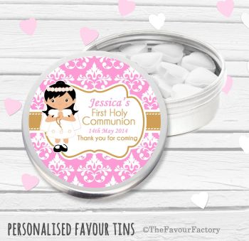 Damask Black Hair Girl Personalised Holy Communion Party Favour Tins x1