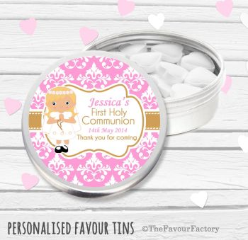 Damask Blonde Hair Girl Personalised Holy Communion Party Favour Tins x1