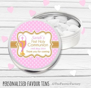 Chalice Pink Personalised Holy Communion Party Favour Tins x1