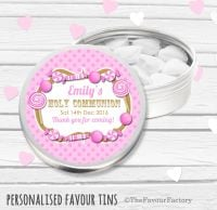 Candy Sweets Pink Personalised Holy Communion Party Favour Tins x1