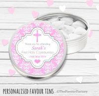 Cross Damask Pink Personalised Holy Communion Party Favour Tins x1