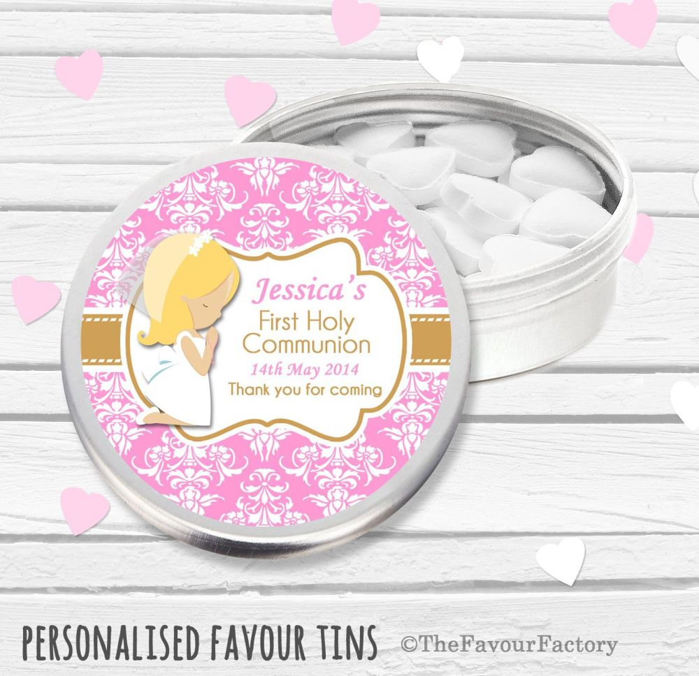 Blonde Girl Praying Personalised Holy Communion Party Favour Tins x1