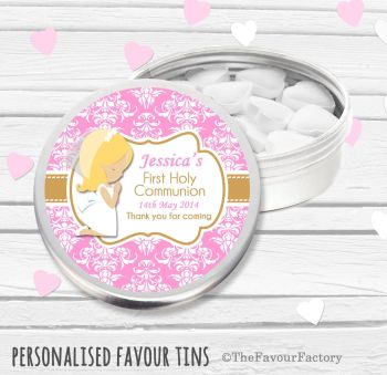 Praying Girl Blonde Hair Personalised Holy Communion Party Favour Tins x1