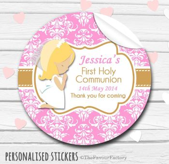 Holy Communion Favors Stickers Personalised Praying Girl (Blonde Hair)