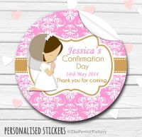 Holy Communion Favors Stickers Personalised Praying Girl (Brown Hair)