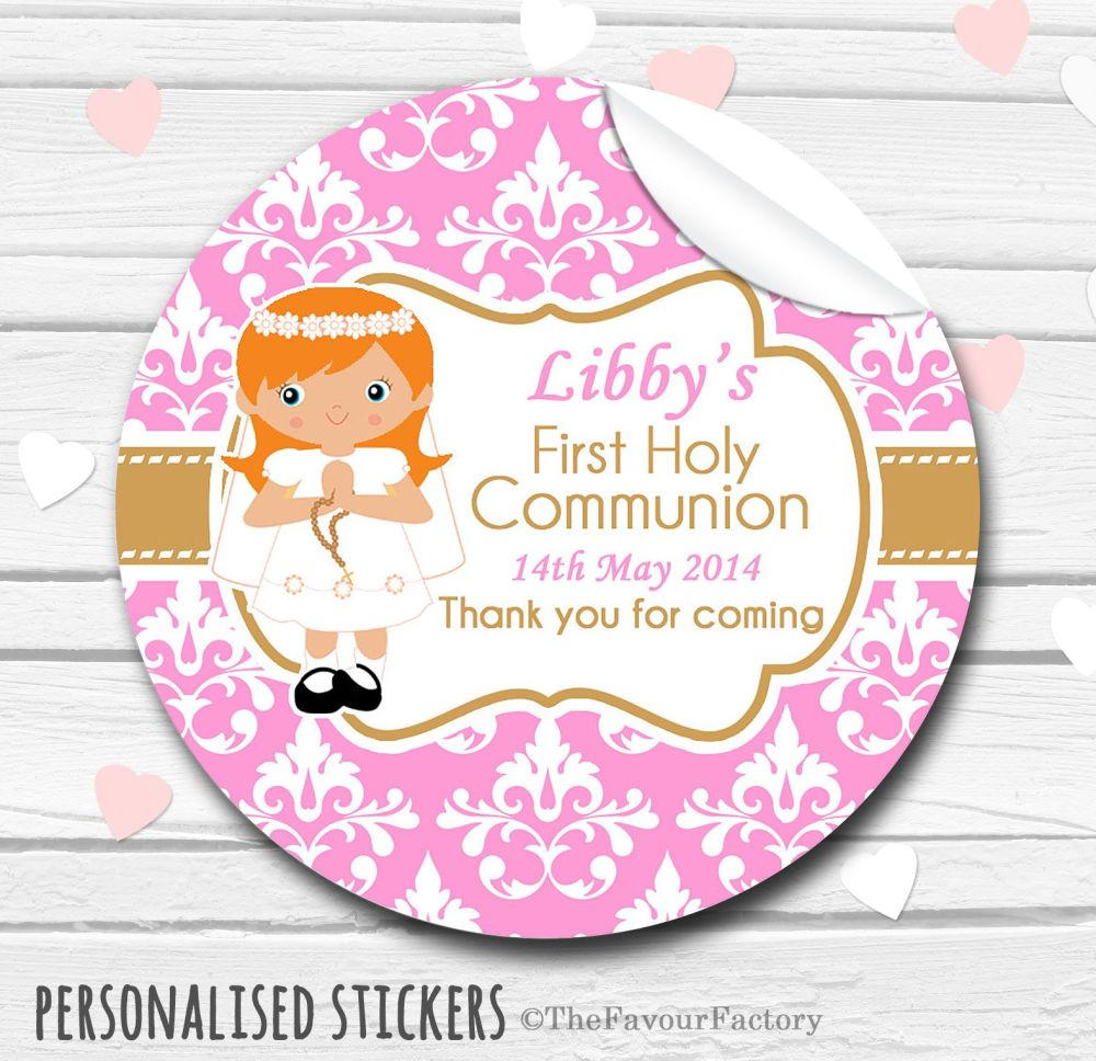 Girl (Ginger Hair) Personalised Holy Communion Favour Stickers, 1xA4 sheet