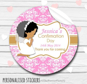 Holy Communion Favors Stickers Personalised Praying Girl (Afro Hair)