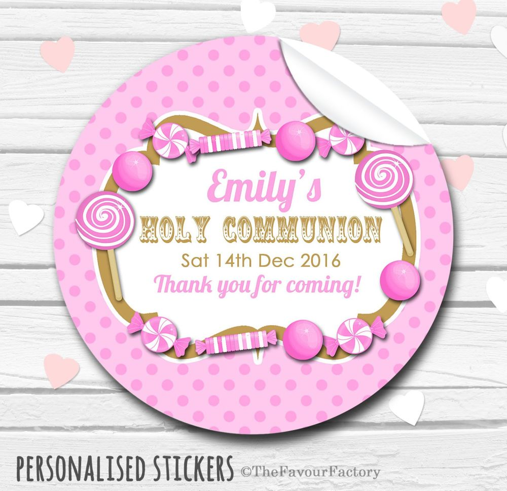 Candy Sweets Pink Personalised Holy Communion Favour Stickers, 1xA4 sheet