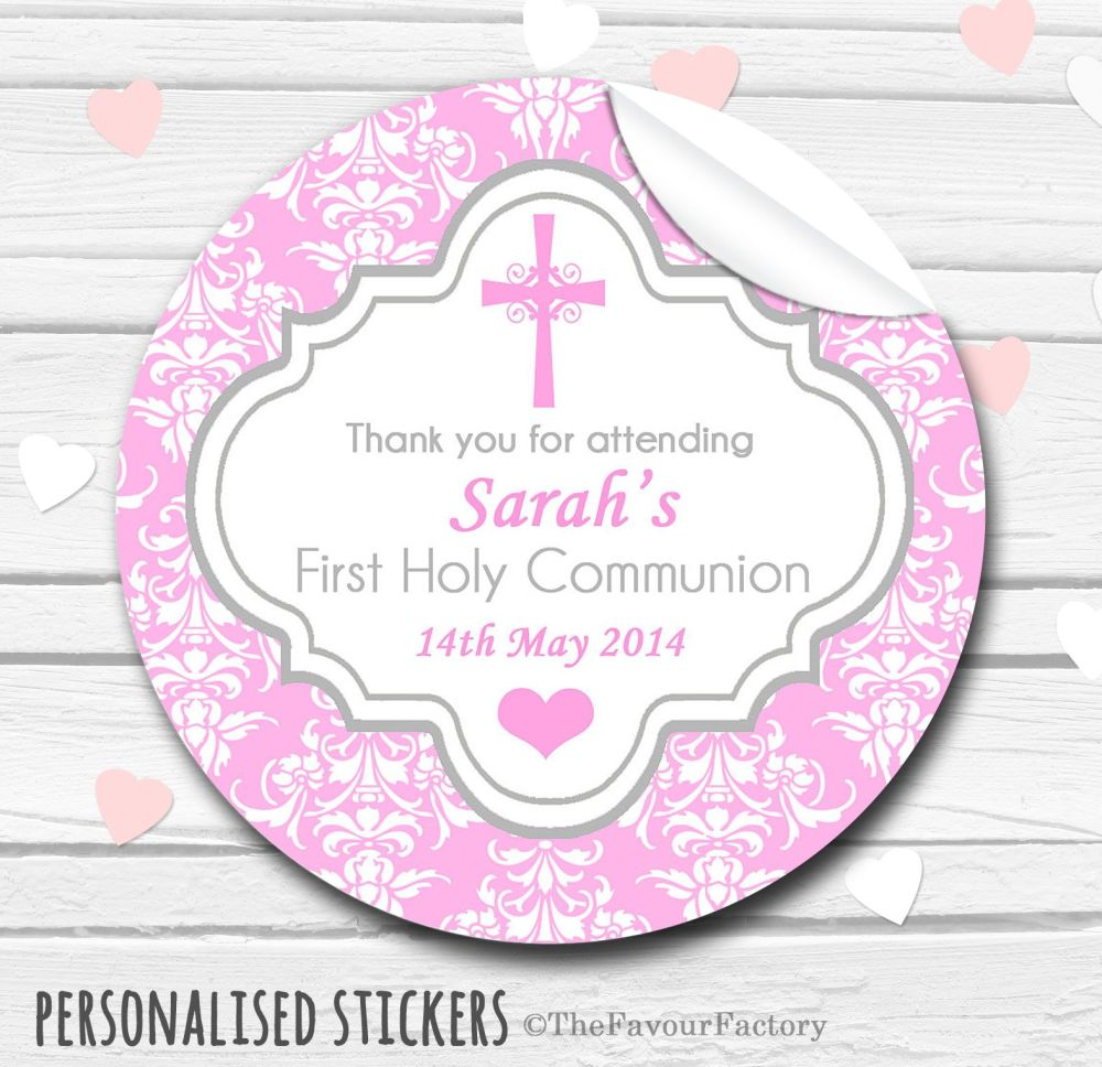 Damask Cross Pink Personalised Holy Communion Favour Stickers, 1xA4 sheet