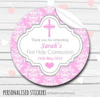 Cross Pink Damask Personalised Holy Communion Favour Stickers, 1xA4 sheet