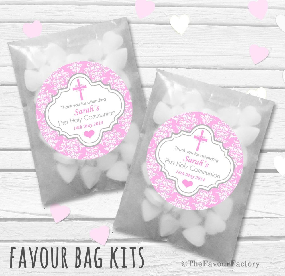 Damask Cross Pink Personalised Holy Communion Party Favours Glassine Bags K