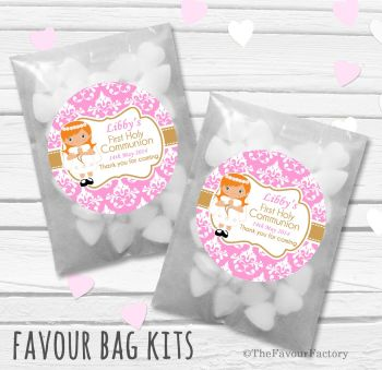 Damask Ginger Hair Girl Personalised Holy Communion Party Favours Glassine Bags Kits x12
