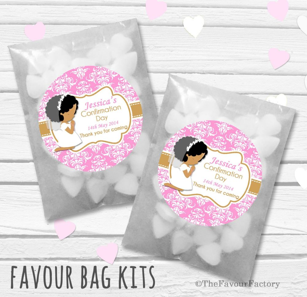 Afro Hair Girl Praying Personalised Holy Communion Party Favours Glassine B