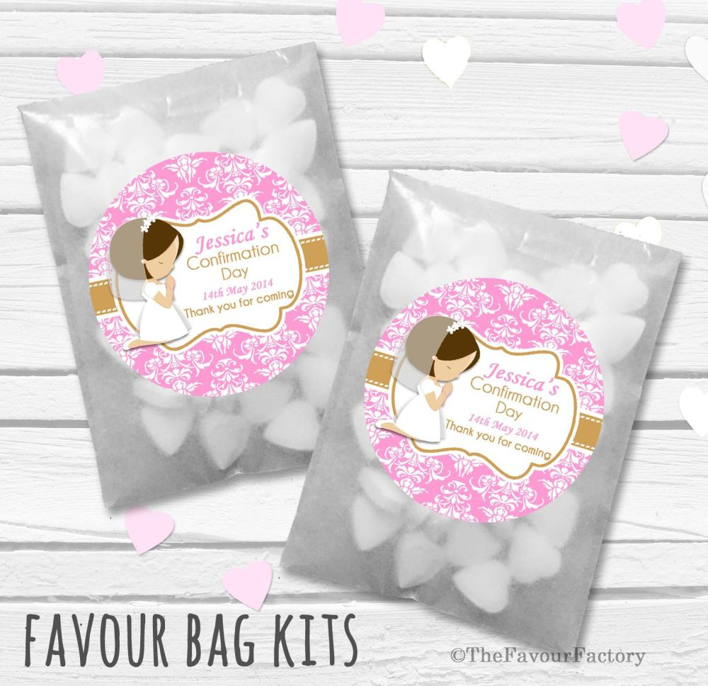 Brown Hair Girl Praying Personalised Holy Communion Party Favours Glassine
