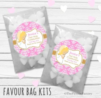 Praying Girl Blonde Personalised Holy Communion Party Favours Glassine Bags Kits x12