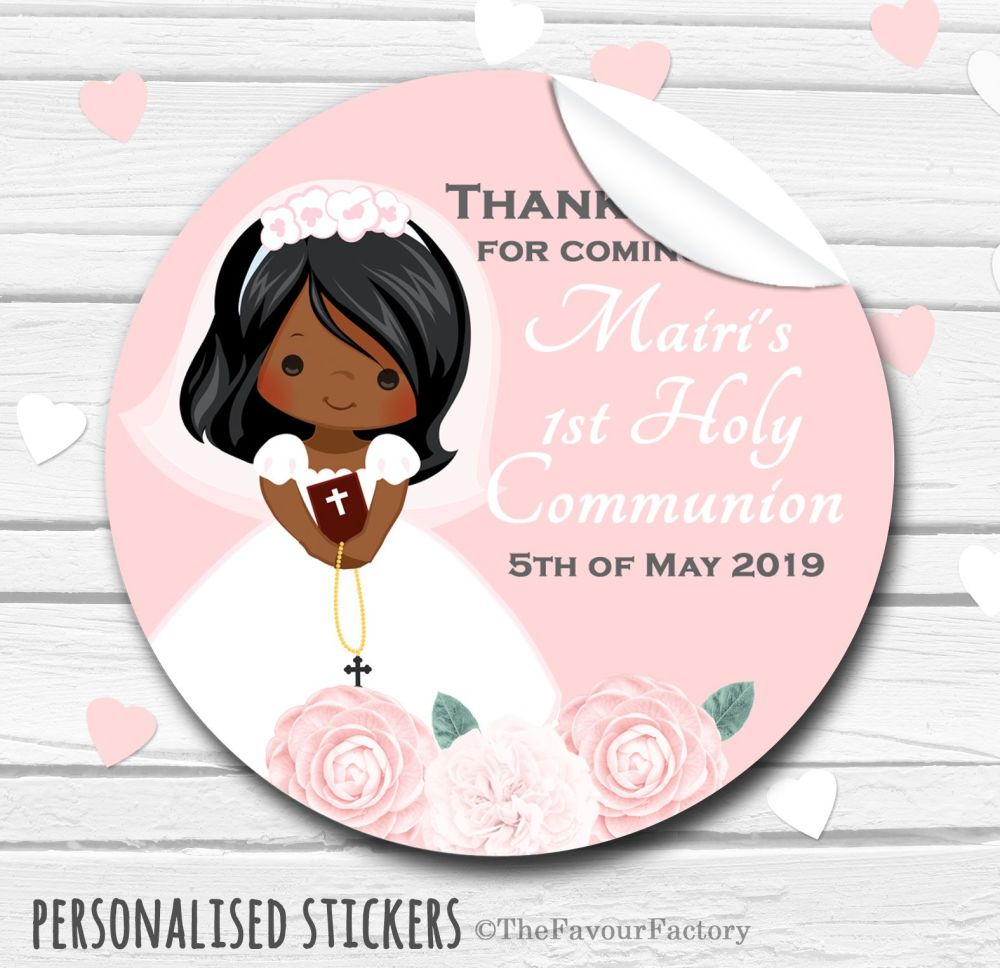 Floral Black Girl Personalised Holy Communion Favour Stickers
