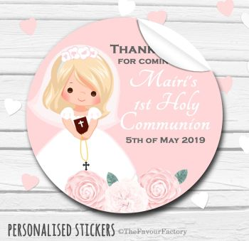 Holy Communion Favors Stickers Personalised Floral Blonde Hair Girl
