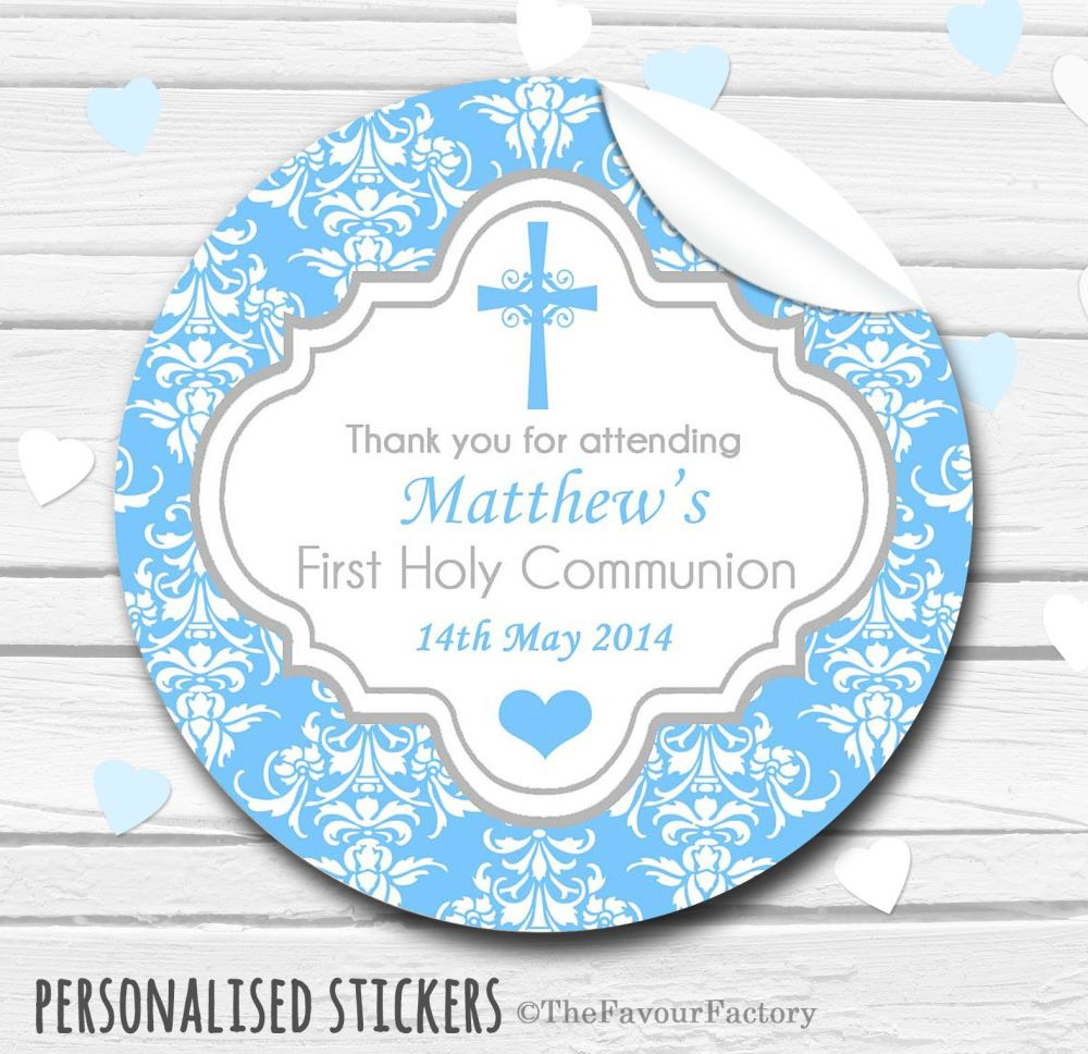 Damask Cross Boys Personalised Holy Communion Favour Stickers, 1xA4 sheet