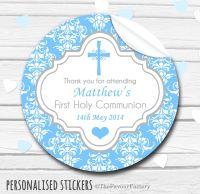 Cross Damask Blue Personalised Holy Communion Favour Stickers, 1xA4 sheet