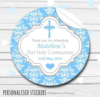 Holy Communion Favors Stickers Personalised Cross Damask Blue