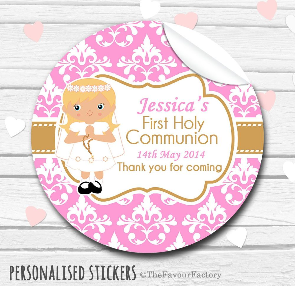 Girl (Blonde Hair) Personalised Holy Communion Favour Stickers, 1xA4 sheet