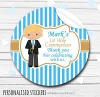 Boy (Blonde Hair) Personalised Holy Communion Favour Stickers, 1xA4 sheet