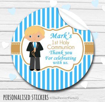 Holy Communion Favors Stickers Personalised Boy (Blonde Hair)