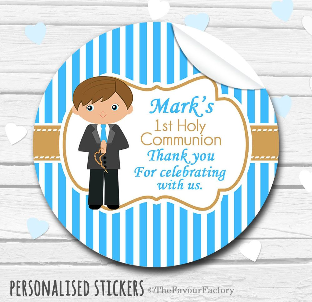 Boy (Brown Hair) Personalised Holy Communion Favour Stickers, 1xA4 sheet