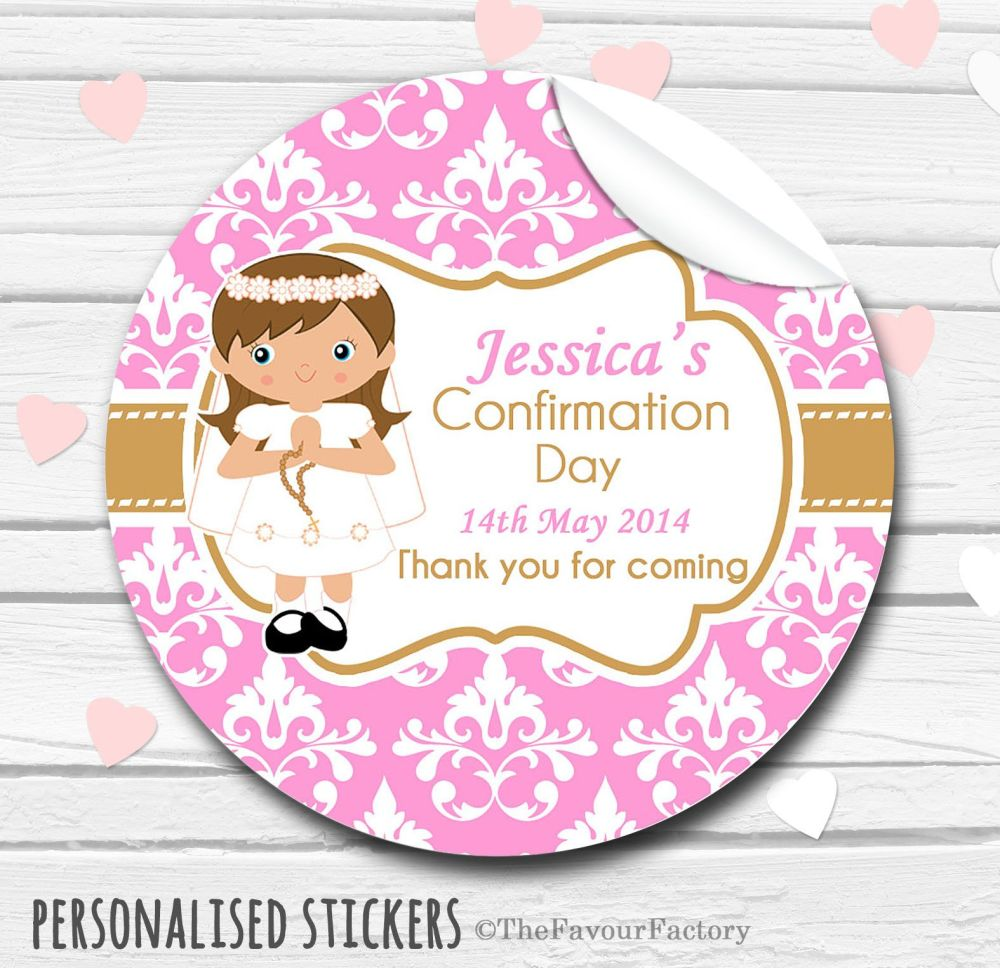 Girl (Brown Hair) Personalised Holy Communion Favour Stickers, 1xA4 sheet