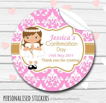 Holy Communion Favors Stickers Personalised Damask Brown Hair Girl