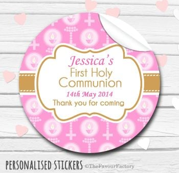 Holy Communion Favors Stickers Personalised Beads with Candles Pink