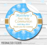 Holy Communion Favors Stickers Personalised Beads with Candles Blue