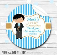 Boy (Black Hair) Personalised Holy Communion Favour Stickers, 1xA4 sheet