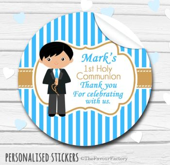 Holy Communion Favors Stickers Personalised Boy (Black Hair)