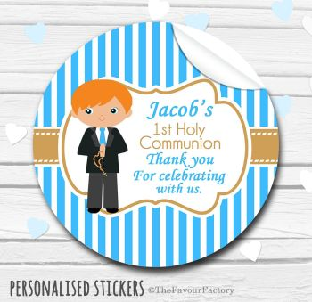 Holy Communion Favors Stickers Personalised Boy (Ginger Hair)