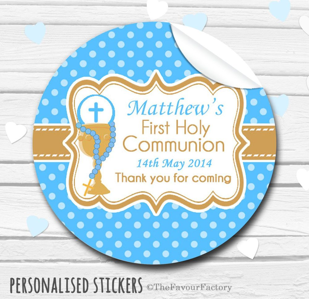 Chalice & Holy Beads Blue Personalised Holy Communion Favour Stickers, 1xA4