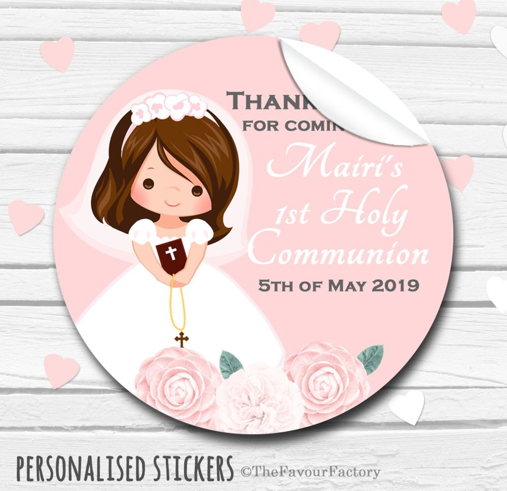 Floral Brunette Girl Personalised Holy Communion Favour Stickers