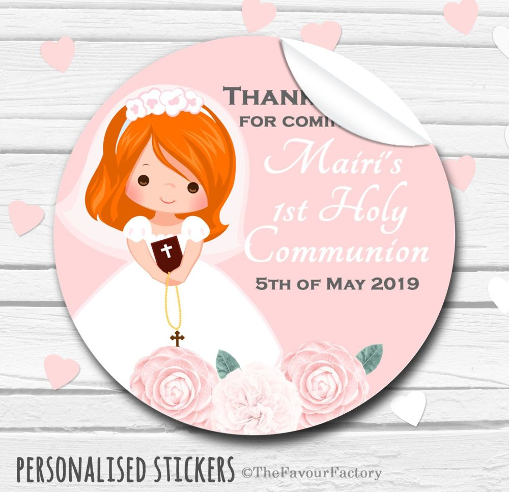 Floral Ginger Hair Girl Personalised Holy Communion Favour Stickers