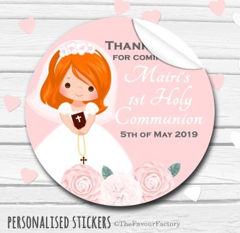 Holy Communion Favors Stickers Personalised Floral Ginger Hair Girl