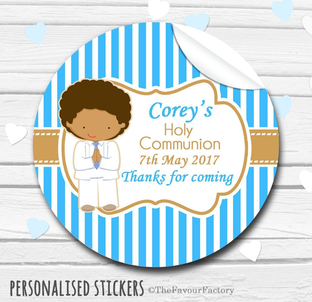 Boy in White Suit Personalised Holy Communion Favour Stickers, 1xA4 sheet