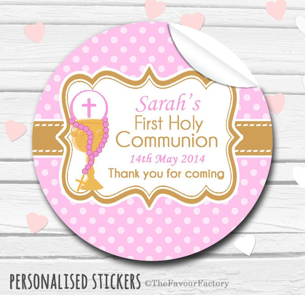 Chalice & Holy Beads pink Personalised Holy Communion Favour Stickers, 1xA4