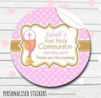 Chalice & Holy Beads pink Personalised Holy Communion Favour Stickers, 1xA4 sheet