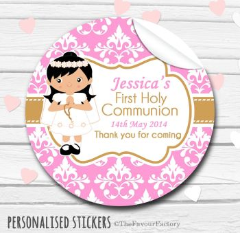 Holy Communion Favors Stickers Personalised Damask Black Hair Girl