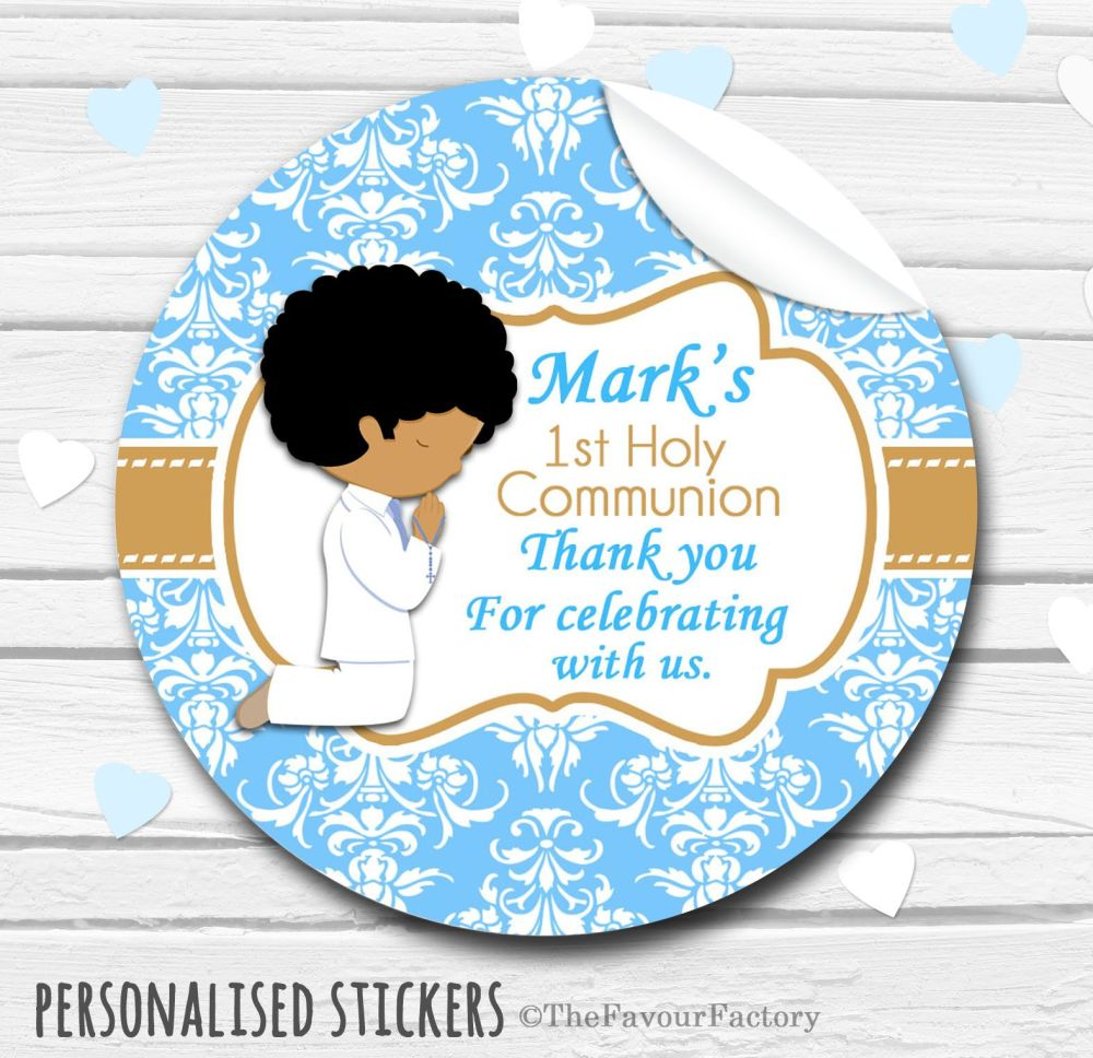 Praying Boy Personalised Holy Communion Favour Stickers, 1xA4 sheet