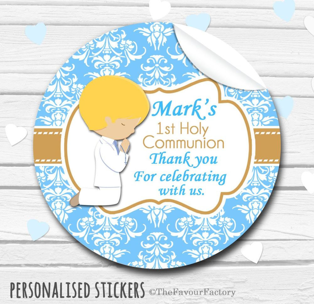 Praying Boy (Blonde Hair) Personalised Holy Communion Favour Stickers, 1xA4