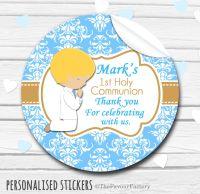 Praying Boy (Blonde Hair) Personalised Holy Communion Favour Stickers, 1xA4 sheet