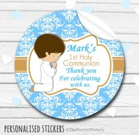 Praying Brown Hair Boy Personalised Holy Communion Favour Stickers, 1xA4 sheet